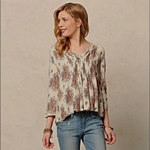 Anthropologie Mahdia peasant floral pleated top